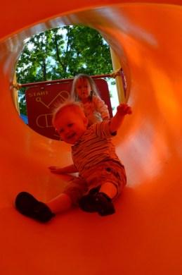 going down the slide!