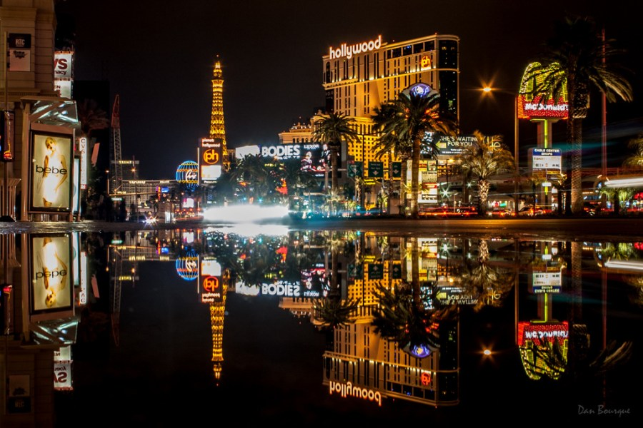Reflections of Vegas night time photo of the Strip by Dan Bourque