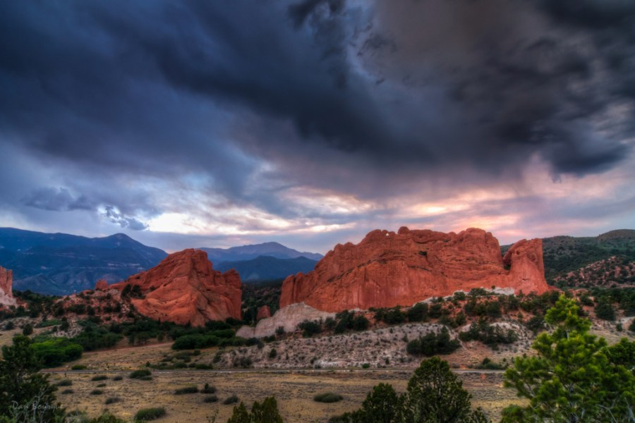 Stormy Sunset over Garden of the Gods landscape photo Garden of the Gods Colorado by Dan Bourque