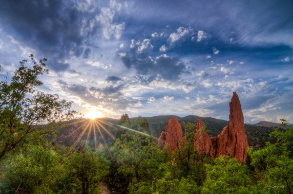 Sun Rays on Red Rock Spires