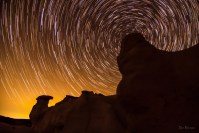 Golden Circle of Stars star trail photo of Paint Mines Colorado by Dan Bourque