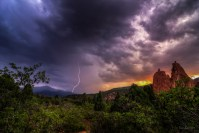 Lightning Strike on the Peak at Sunset landscape photo Garden of the Gods Colorado by Dan Bourque