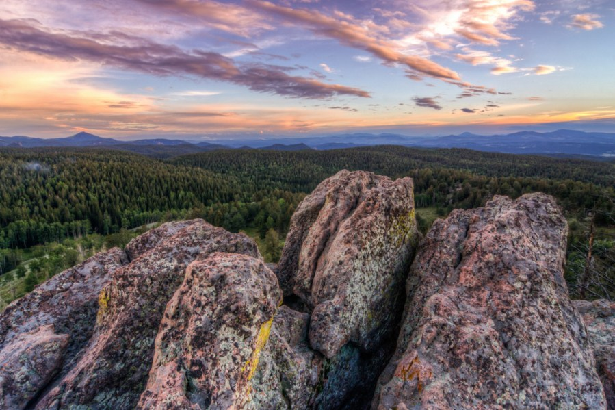 Purple Clouds over Pink Granite landscape photo of Mueller State Park Colorado by Dan Bourque