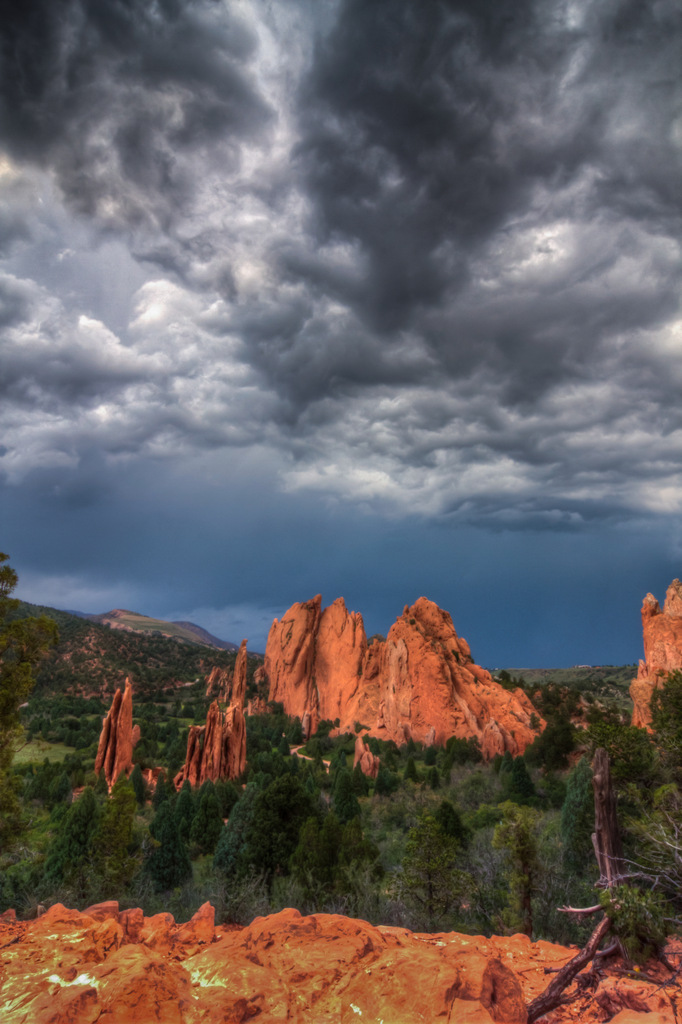Red Rocks under Stormy Skies landscape photo Garden of the Gods Colorado by Dan Bourque