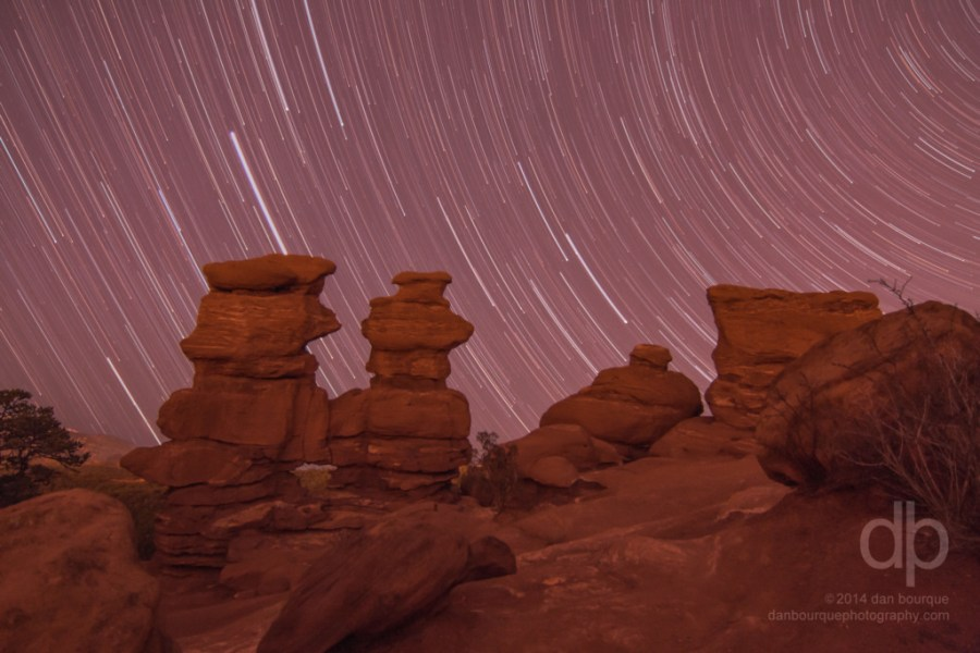 Star Trails and Red Formations landscape photo of Garden of the Gods Colorado by Dan Bourque