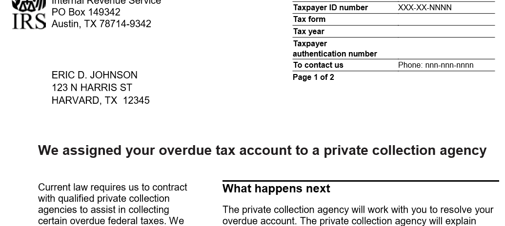 CP40 form From IRS We assigned your overdue tax account to a private collection agency