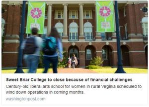 Tweet of Washington Post article re: closing Sweet Briar College