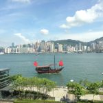 HongKong Victoria peak and Kowloon Bay on sunny day