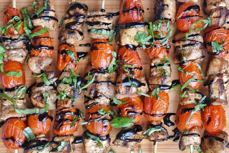 Bruschetta Chicken Skewers