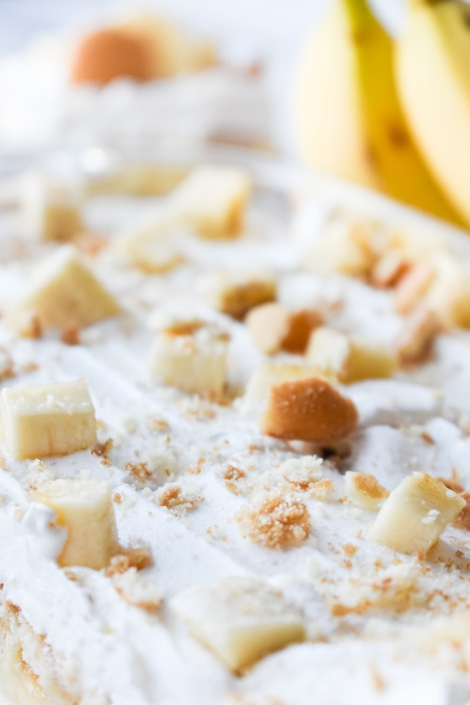 Close-up of the top of Banana Pudding Dessert