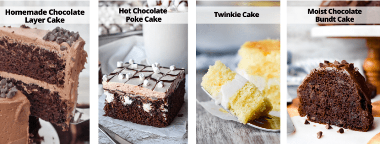 Collage with different types of cake