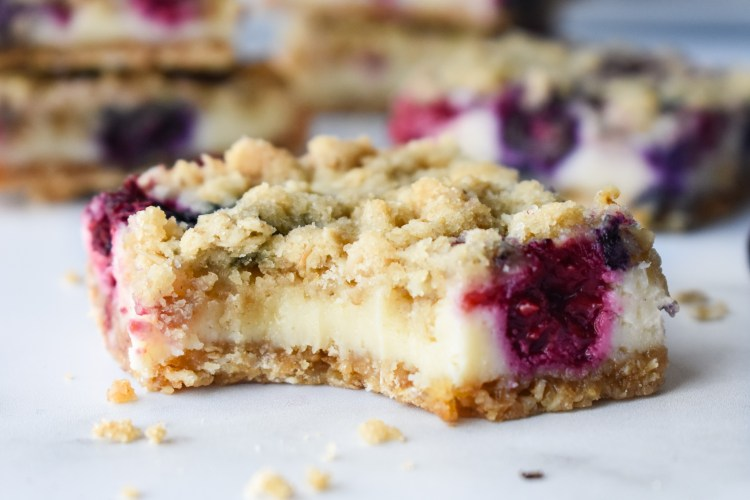Blueberry Cream Cheese Bar with a bite out of it