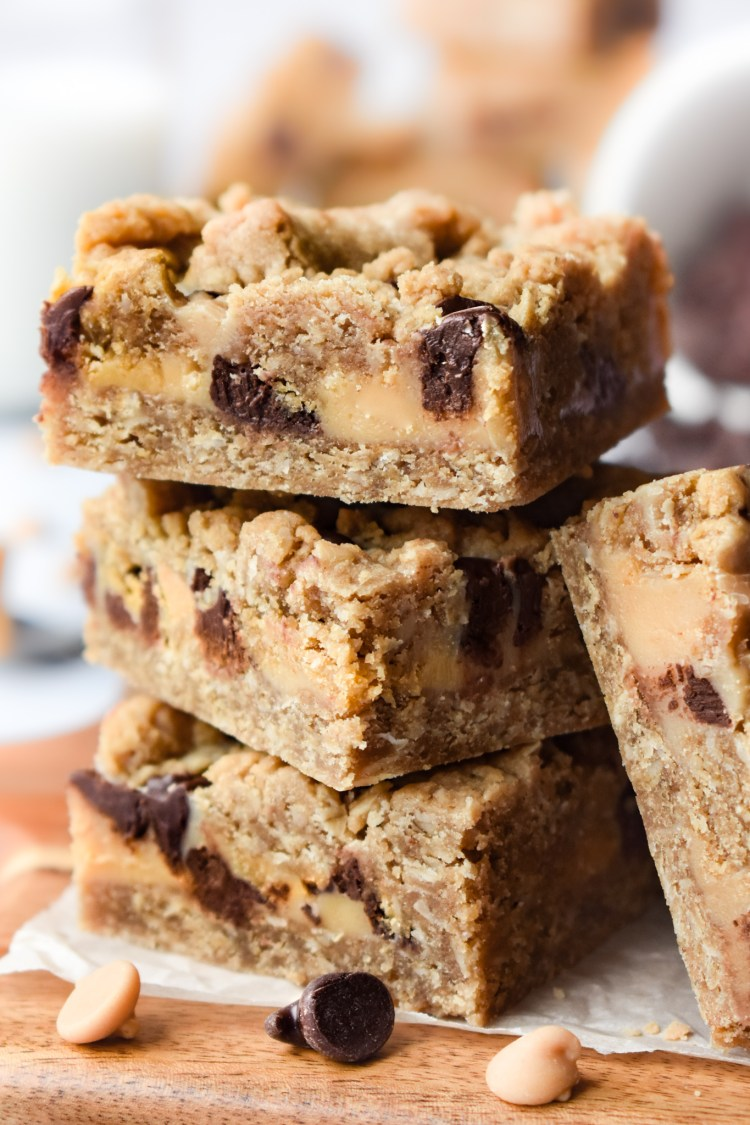 Chocolate Peanut Butter Oatmeal Bars in a stack close-up