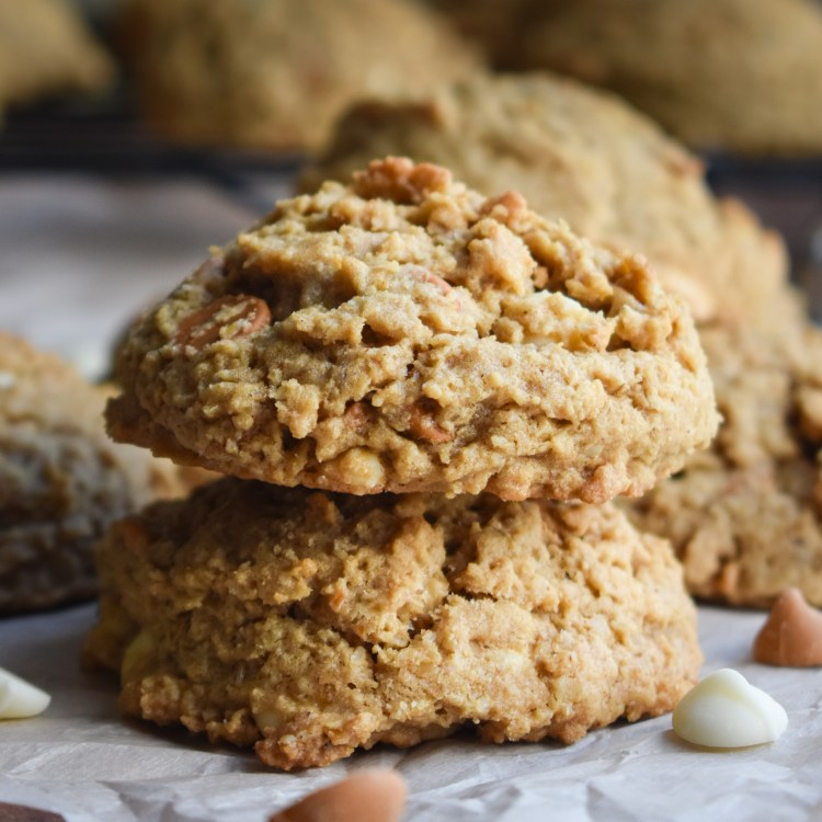 oatmeal scotchie cookies stack
