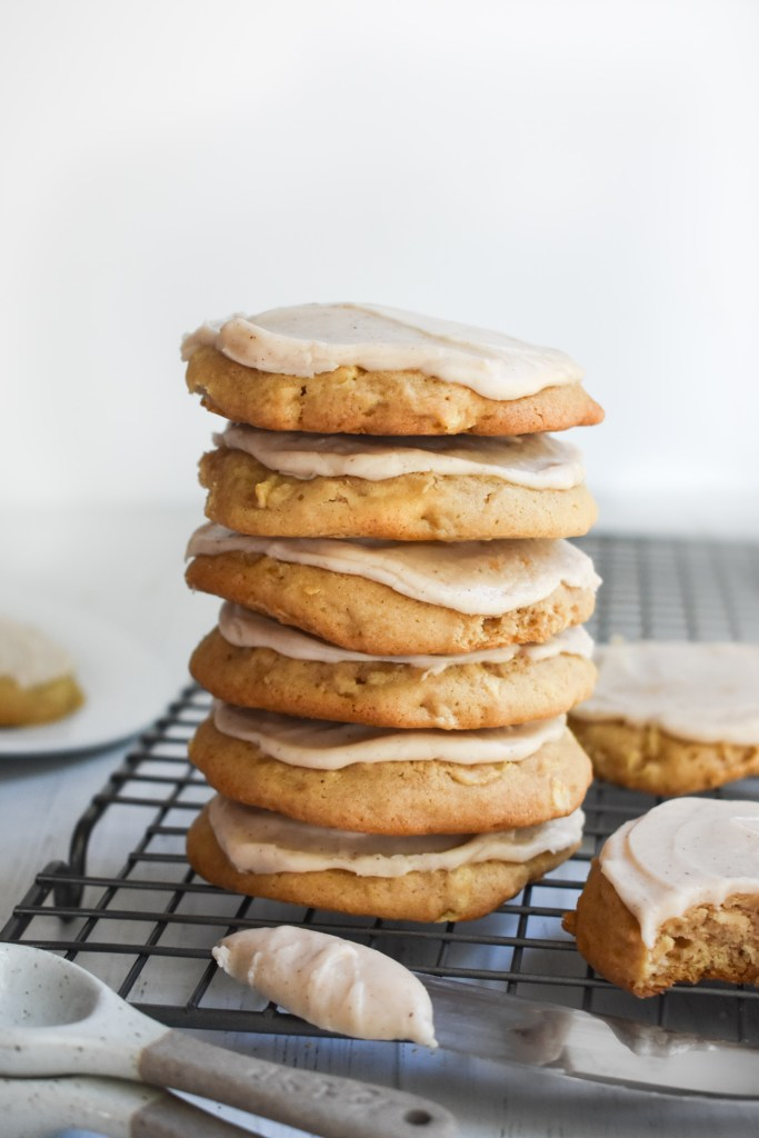 Apple Cookies in a stack on a wire rack
