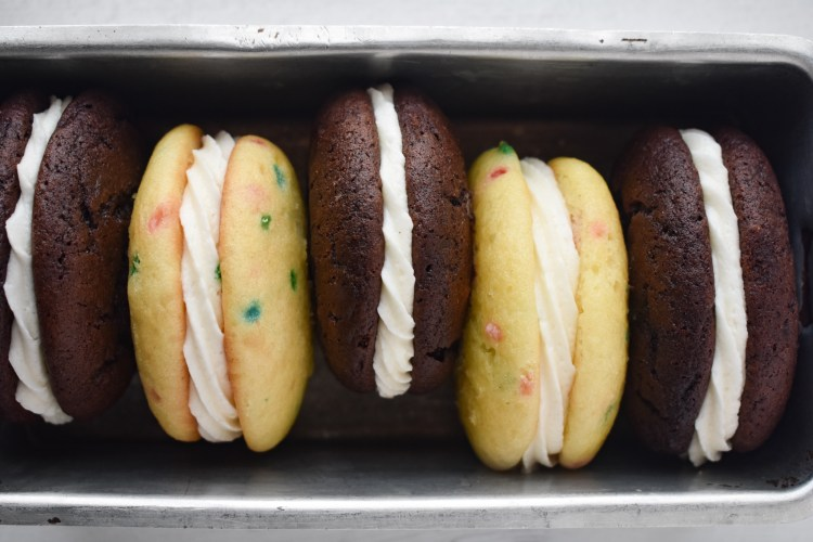 Cake Mix Whoopie Pies - funfetti and chocolate