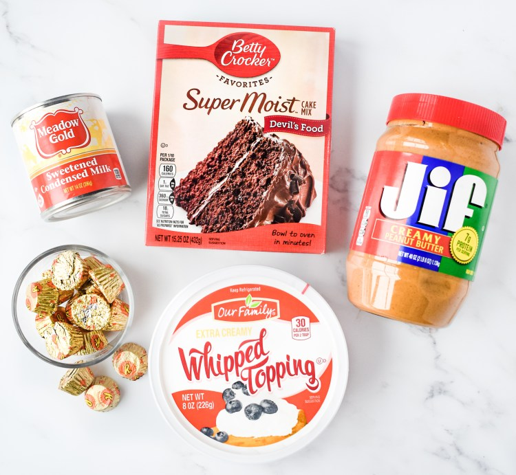 Ingredients needed to make Chocolate Peanut Butter Poke Cake