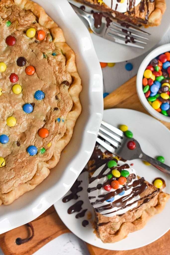 Monster Cookie Pie in a white pie plate
