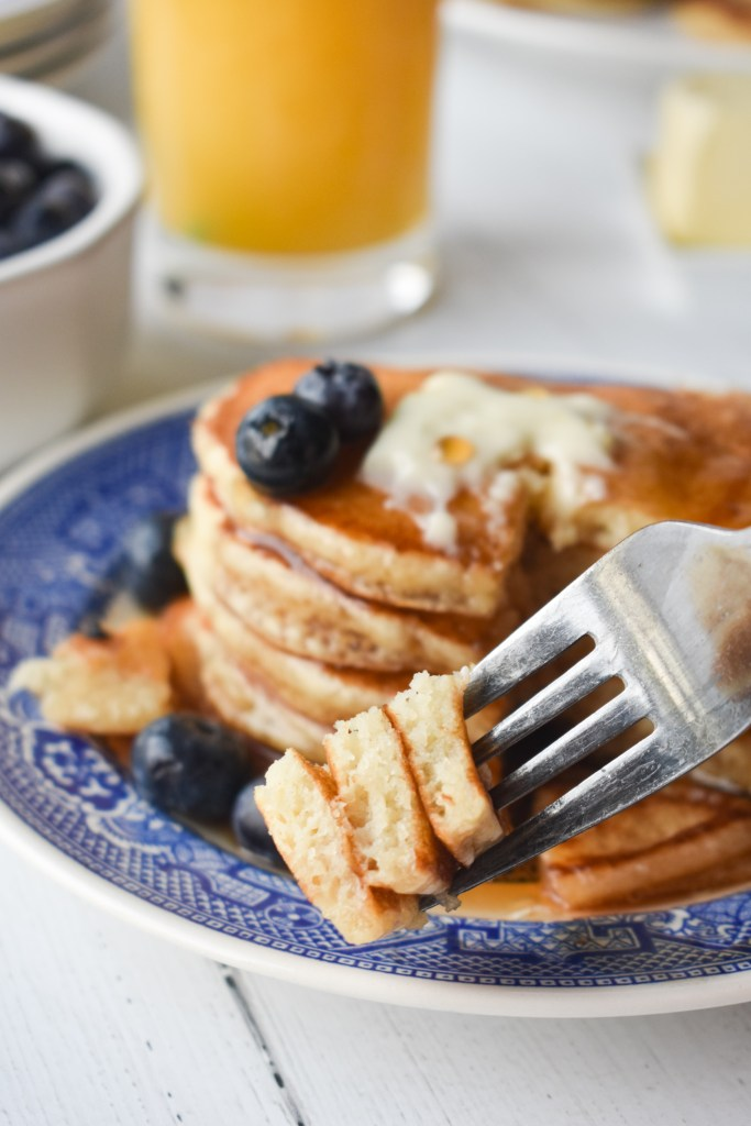 Fork with pancakes on it