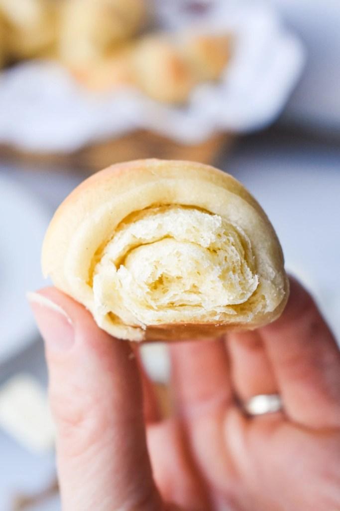 close-up of a butterhorn roll