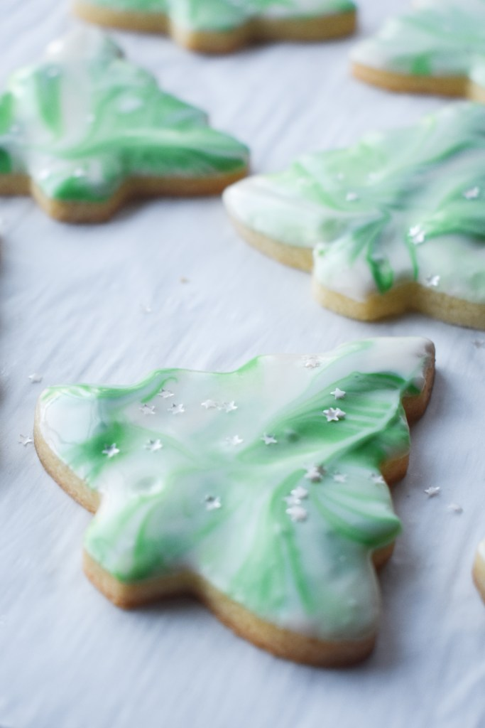 Christmas tree cut-out cookie with green frosting