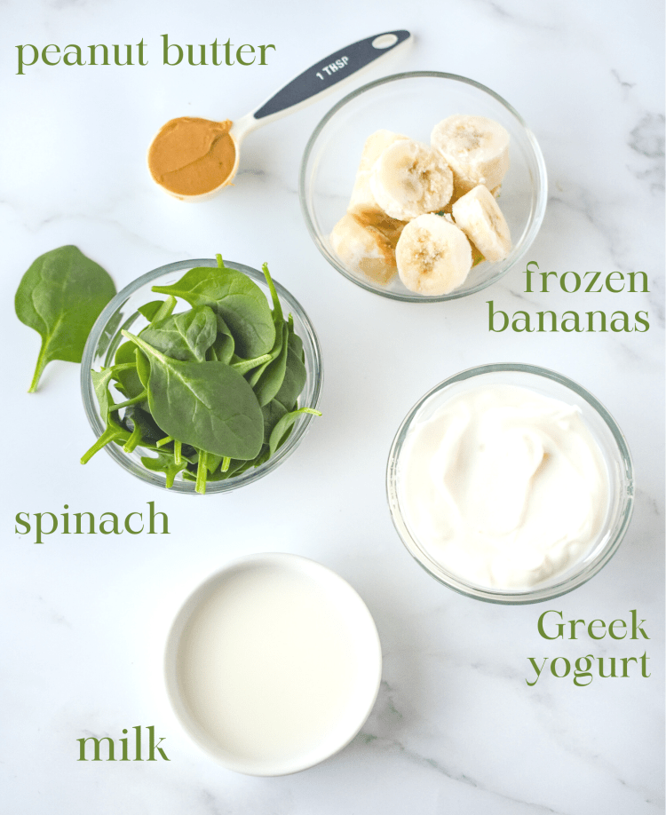 Ingredients for Green Monster Smoothie