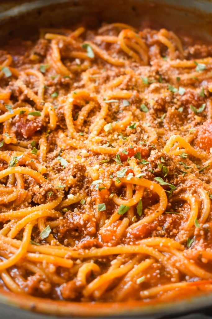 Close up of One Pot Spaghetti