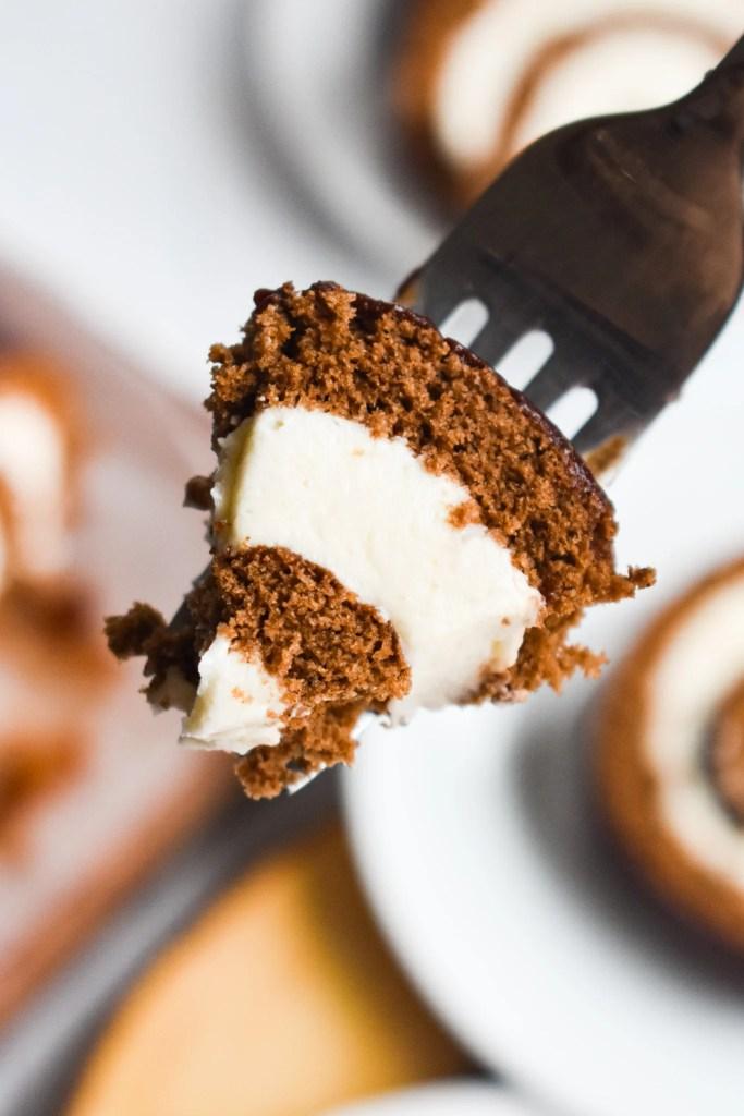 Bite of cake on a fork