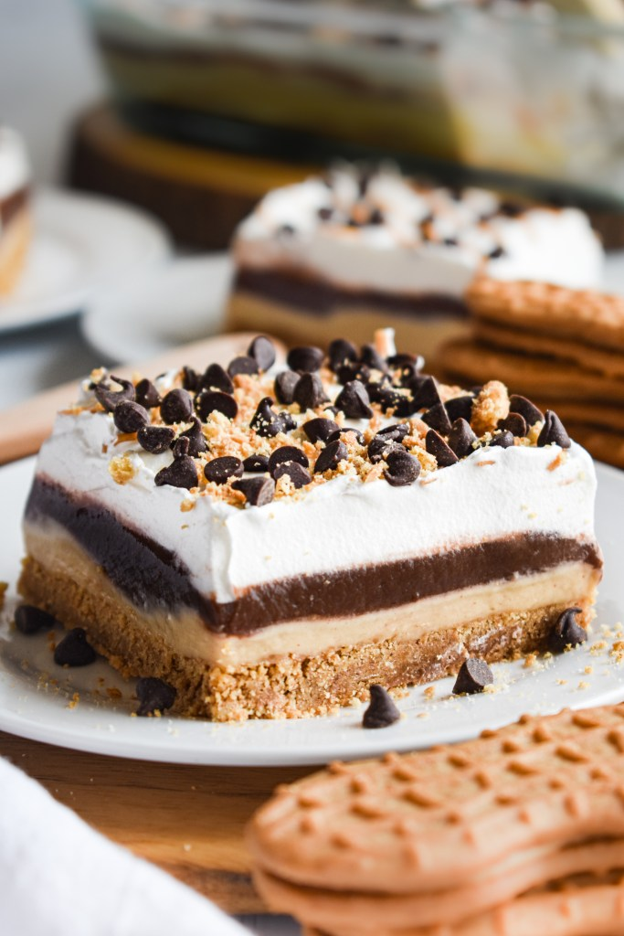 Chocolate Peanut Butter Lasagna on a white plate