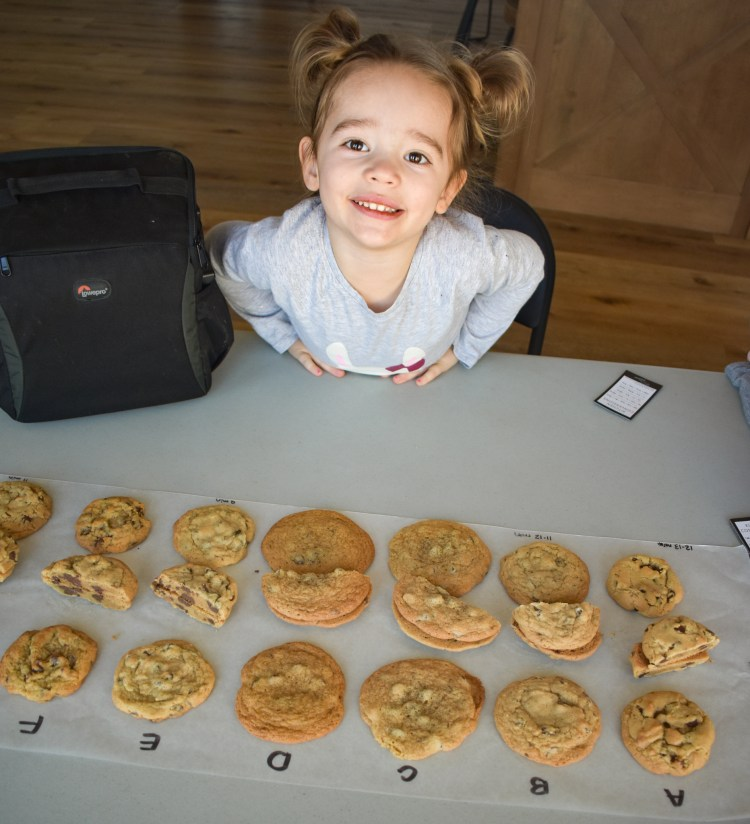 Chocolate chip cookie experiment and young taste tester!