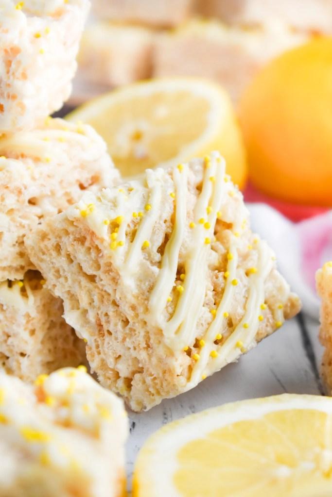 lemon rice krispie treat on its side