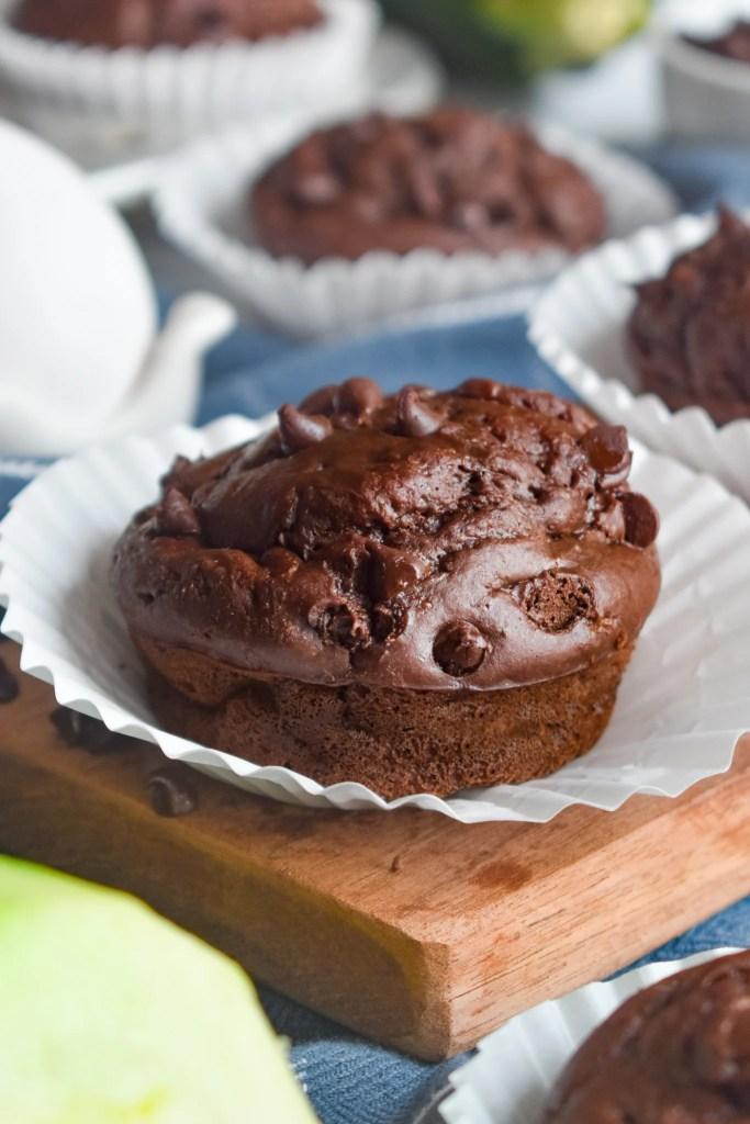 healthy double chocolate zucchini muffin