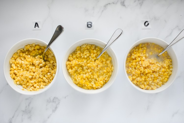 Cooked sweet corn labeled A B and C