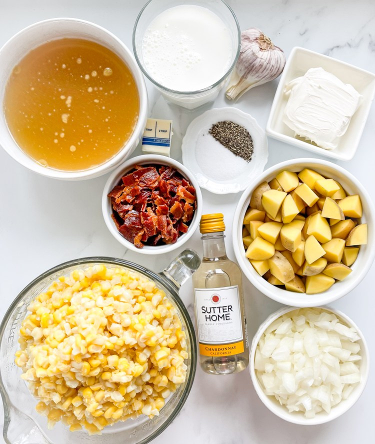 ingredients needed for corn chowder with bacon