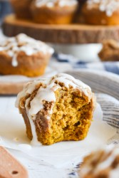 pumpkin muffin with a bite out of it