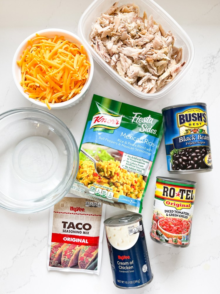 ingredients needed for a super easy Mexican Chicken Casserole