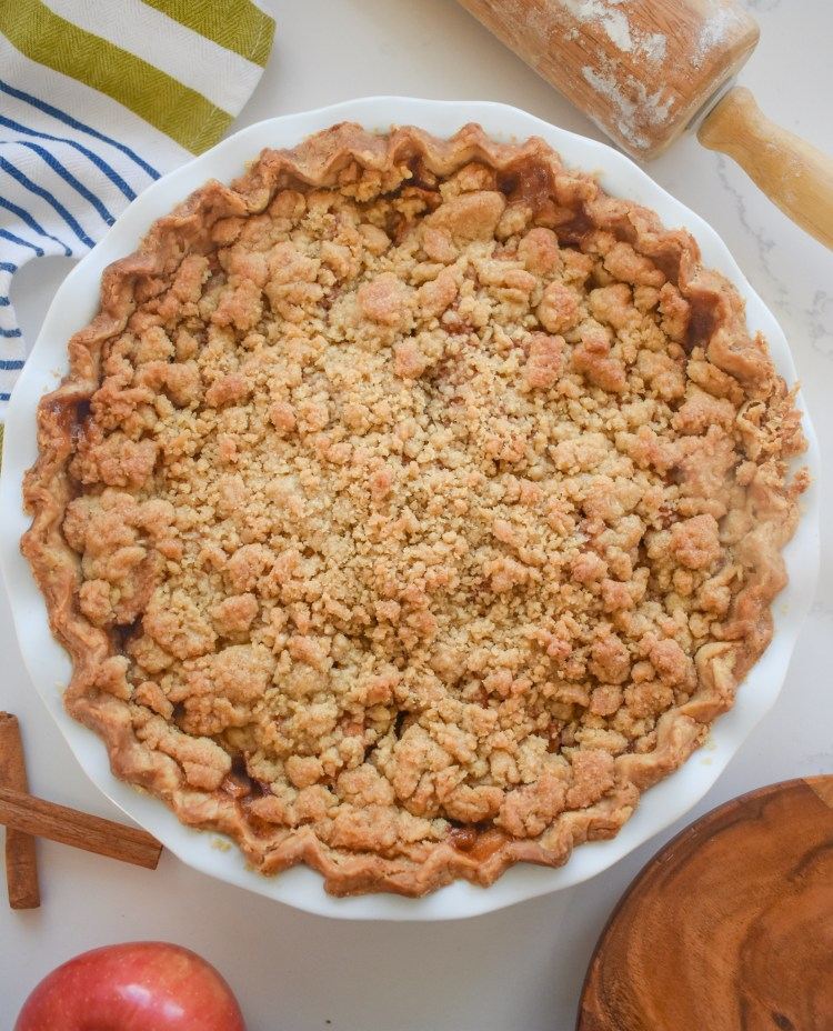 full apple crumble pie from birds eye view