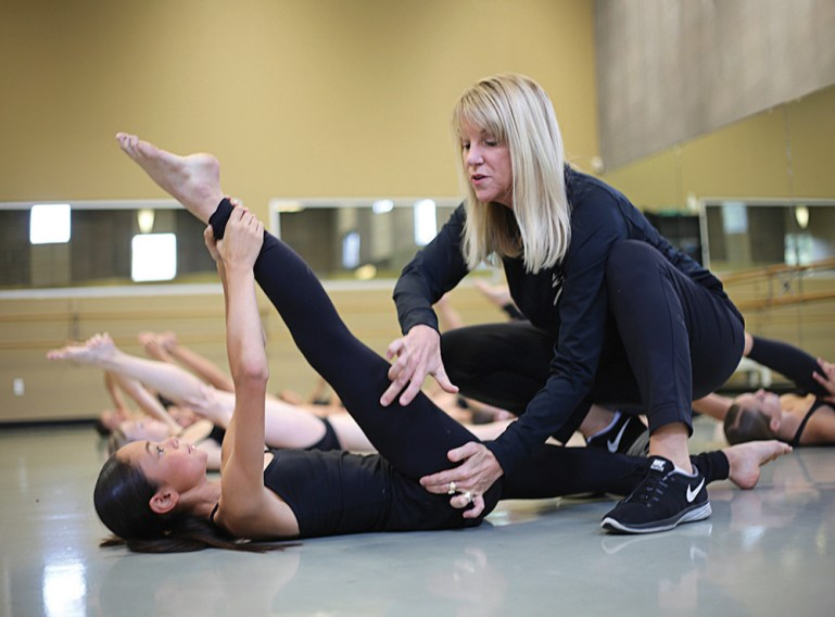 Sue Sampson-Dalena with dance student at The Dance Studio of Fresno in California