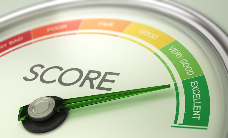 3D illustration of a conceptual gauge with needle pointing to excellent. Business credit score concept.