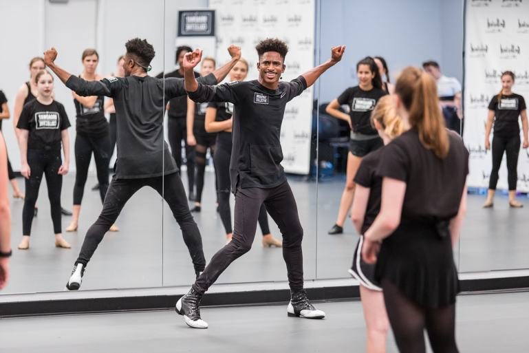 Robert Hartwell leading a dance class at Gathered, a summer intensive from his company, The Broadway Collective.