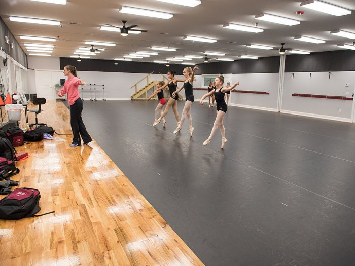 Students in a ballet class at Burns Dance Studio