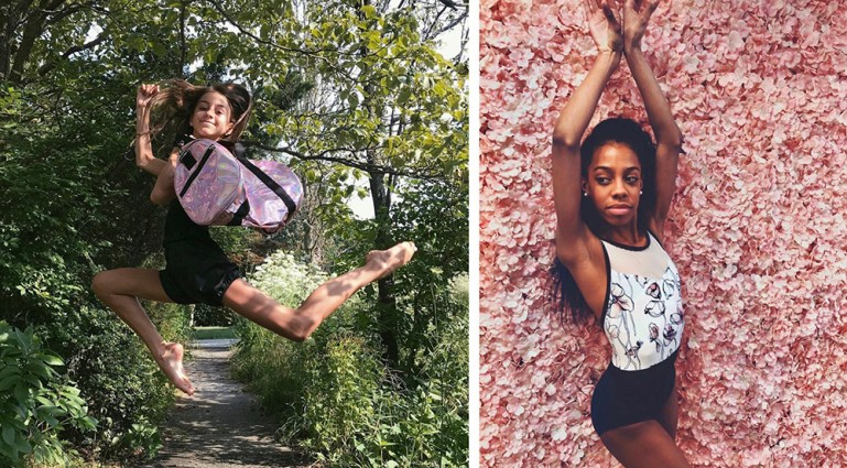 Two dancers posing; one outside, one inside Beam & Barre dance store, in front of a pink floral wall.