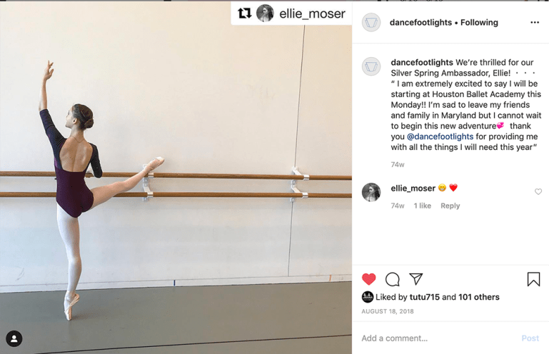 "Instagram post with Footlights Dance & Theatre Boutique brand ambassador Ellie Moser announcing she's been picked up by Houston Ballet Academy and thanking Footlights for ""all the things I need this year."""