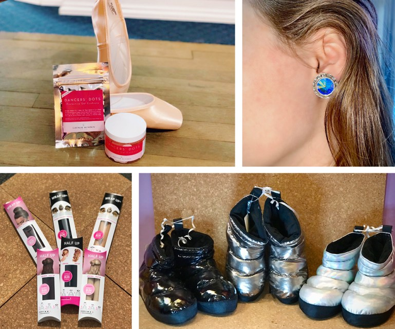 Photo of dance accessories, including a blue earring, black and silver warmup booties, and pointe shoe and hair accessories.
