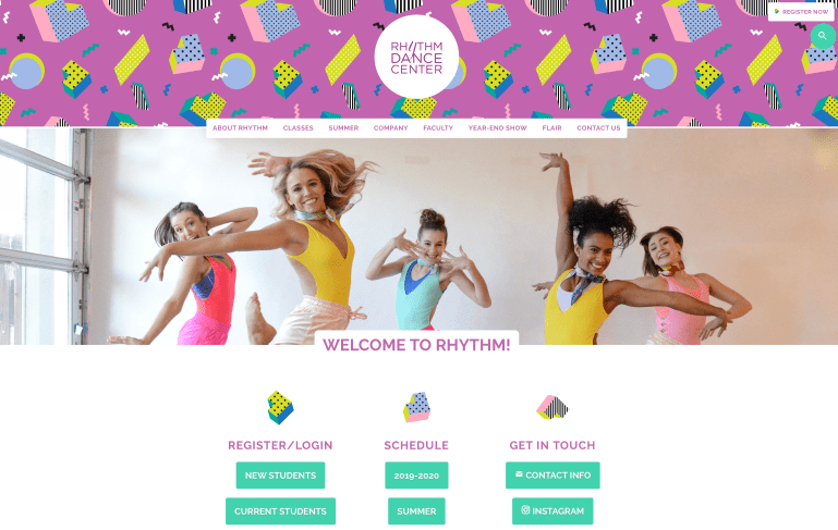The landing page of Rhythm Dance Center's website, with photos of dancers and navigation to Registration, schedules, contact information and Instagram feed.
