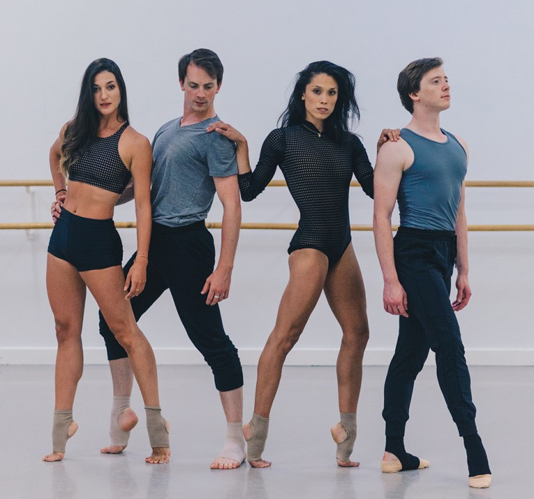 Cirio Collective dancers, two men and two women, wearing Apolla dance socks.