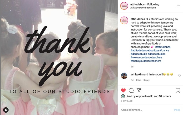 "Instagram post from Attitude Dance Boutique, thanking their ""studio friends."""