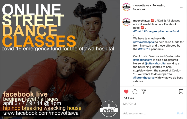 Instagram post from MOOV Ottawa Dance, showing co-founders, who offer online street dance classes to raise money for Ottawa Hospital.