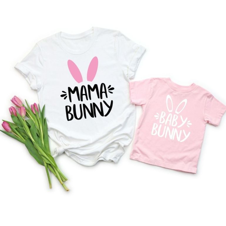 two T-shirts saying Mama Bunny, in white, and Baby Bunny, in pink, with pink tulips