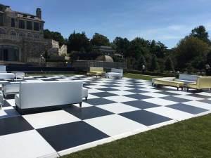 Outside-dance-floor-rental-black-white-squares